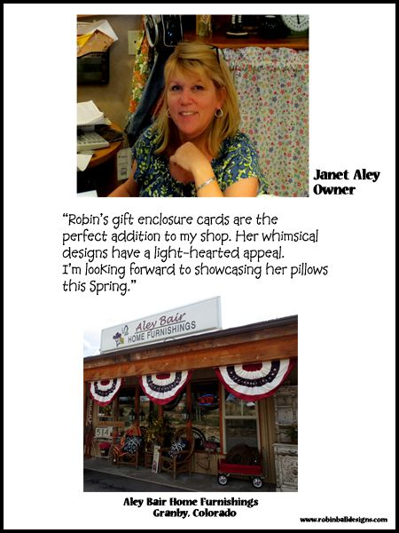 Janet Aley, owner of Aley Bair Home Furnishings. This store is full of gorgeous and homey furnishings for every room in your home!