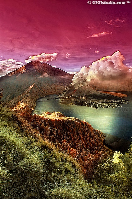 Mount Rinjani on Lombok Island with 3726 m from the sea level.
