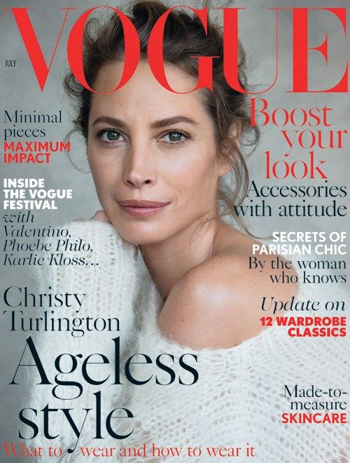 Vogue UK latest magazine cover - Christie Turlington -timeless beauty