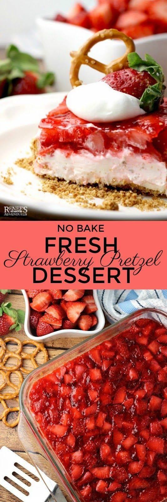 Fresh Strawberry Pretzel Dessert   by Renee's Kitchen Adventures - easy, no bake recipe for Strawberry Pretzel Dessert (aka Strawberry Pretzel Salad) lightened up  by using fresh strawberries, sugar free jello, and light cream cheese. This classic recipe for Strawberry Pretzel Dessert is always a hit at parties, pot luck, and family gatherings. Easy to make. Fresh strawberries make a difference in this dessert recipe. @Flastrawberries #SundaySupper #FlStrawberry #Strawberries…