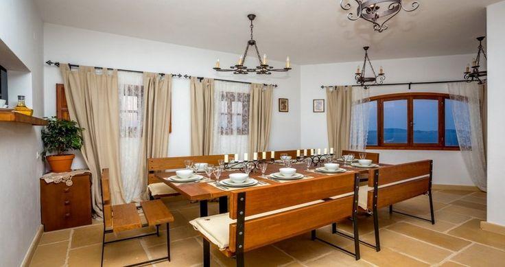 "The spacious living room ! Check ""Villa Sophias"" - Patmos, Greece ! You can rent it ! #luxury #villa #rent #holidays #greece #vacances #grece #alouer #aroomwithaview #sea #bedroom #decoration #swimmingpool #beautiful"