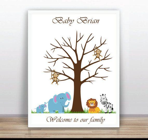 Safari Baby Shower Printable Thumbprint Tree Guest by ByYolanda, €15.00