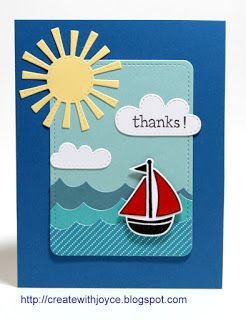 01 25 2016; Lawn Fawn Spring Showers die; Float a boat, Ocean Wave Borders, Stitched Journaling Card