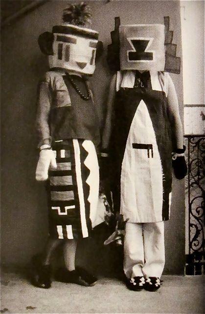 Sophie Taeuber & Erika Taeuber in Kachina Costumes Made By Sophie 1922