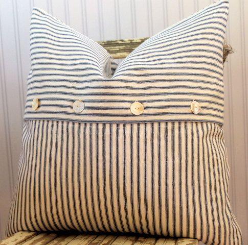 Blue Ticking Pillow