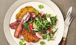 Yotam Ottolenghi's sweet potato pancakes with maple-glazed bacon.