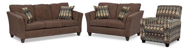 Juno Queen Memory Foam Sleeper Sofa, Loveseat And Push-Back Recliner Set - Chocolate
