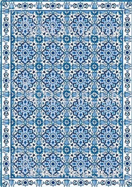 CAL 294 - Calambour Paper for classic Decoupage. Pattern : blue and white mosaic. Details: measures 50 x 70 cm, printing on 80 gr/mq paper sheet