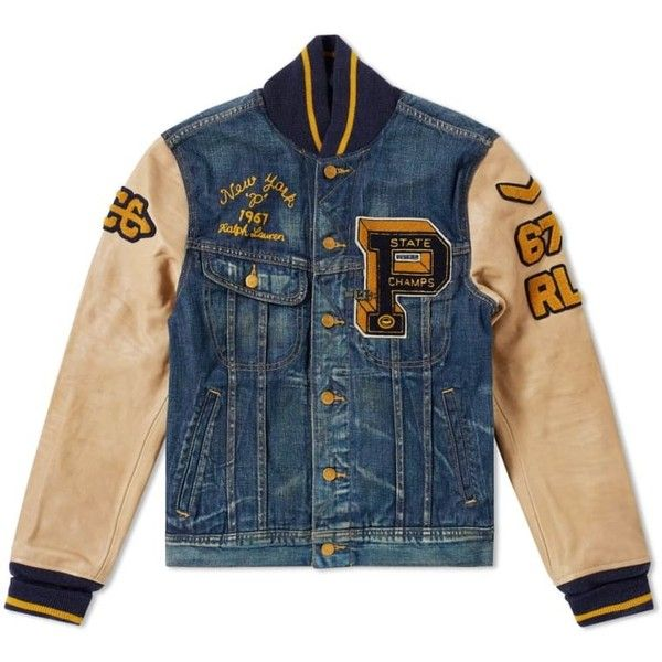 25f1394a50ff Polo Ralph Lauren Varsity Denim Jacket ( 245) ❤ liked on Polyvore featuring  outerwear