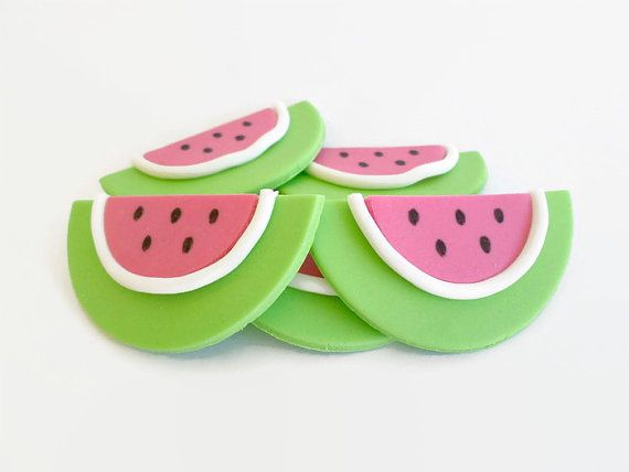 Watermelon Party Cupcake Cake Edible Fondant Toppers by LenasCakes