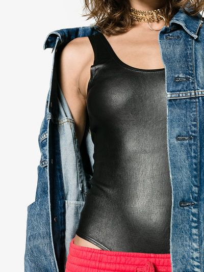 Sprwmn | Stretch Leather Bodysuit - This black bodysuit is crafted from stretch lamb leather and features an all-in-one design, low cut neckline and deep U-cut back.