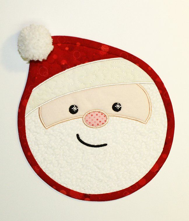Quilted Santa mug mat - This as a placemat and I'm sold! now to find a reindeer and elf one...