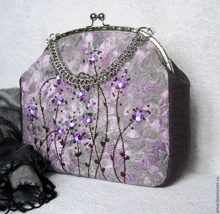 """Купить Сумка женская """"Фиалка Монмартра"""" - сиреневый, цветочный, сумка ручной работы, сумка женская"""