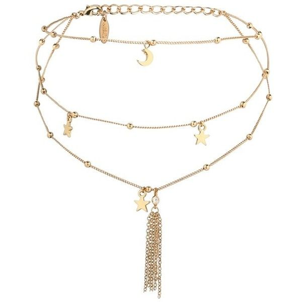Women's Ettika Charm Layered Choker (51 AUD) ❤ liked on Polyvore featuring jewelry, necklaces, accessories, choker, gold, star choker, 18k necklace, star necklace, fringe necklace and star charm