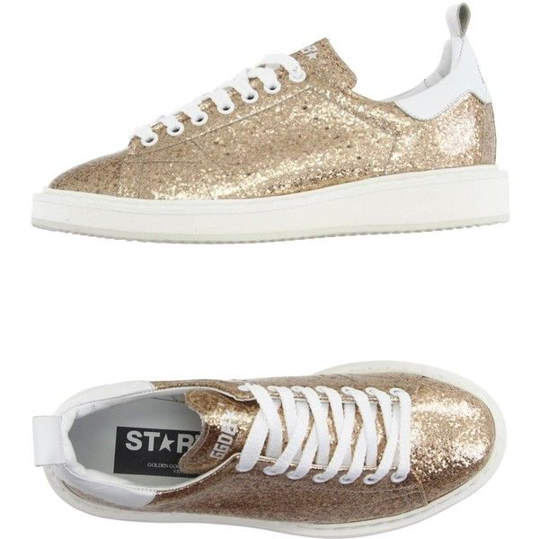 Golden Goose Low-tops & Trainers ($295) ❤ liked on Polyvore featuring shoes, sneakers, platinum, leather wedge shoes, glitter shoes, low profile sneakers, leather low top sneakers and glitter wedge shoes