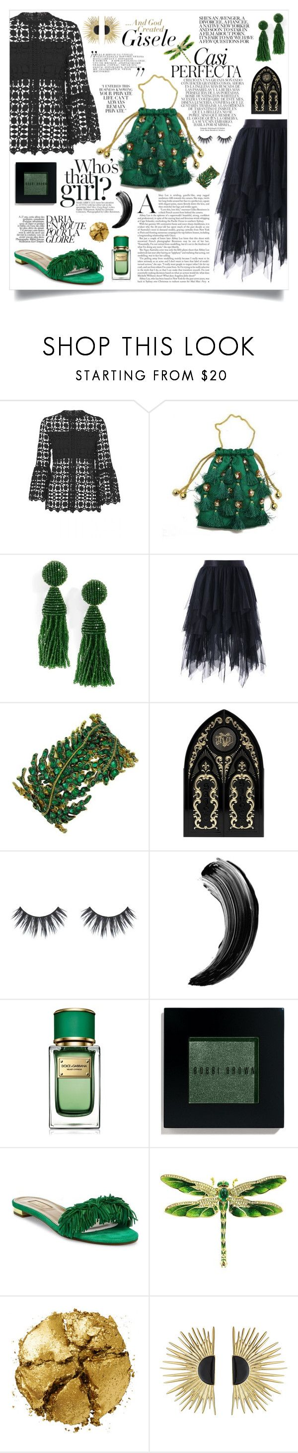 """That touch of Green"" by jalouze ❤ liked on Polyvore featuring Oscar de la Renta, Whiteley, Kat Von D, Dolce&Gabbana, Bobbi Brown Cosmetics, Aquazzura, Pat McGrath and Aurélie Bidermann"