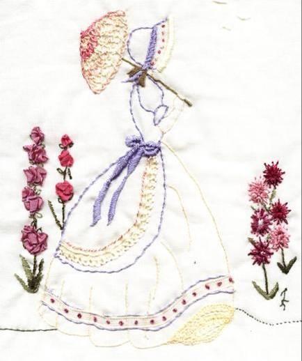ribbon work crinoline lady