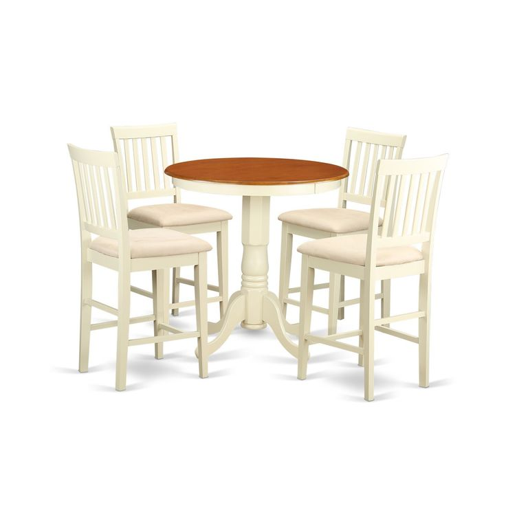 (Ivory) And Off White Solid Wood Five Piece Pub Table Kitchen Dinette