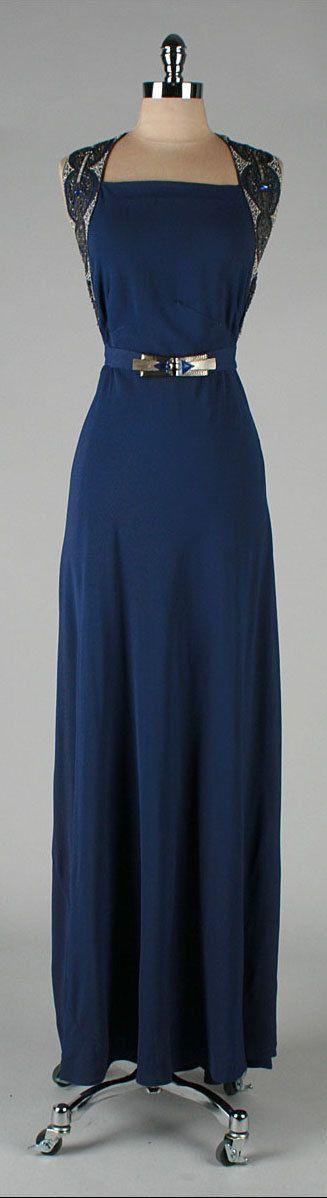vintage 1930s dress . blue rayon crepe . by millstreetvintage