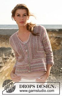 """Knitted DROPS jacket in garter st and stripes in """"Fabel"""" and """"Alpaca"""". Size: S - XXL. ~ DROPS Design"""