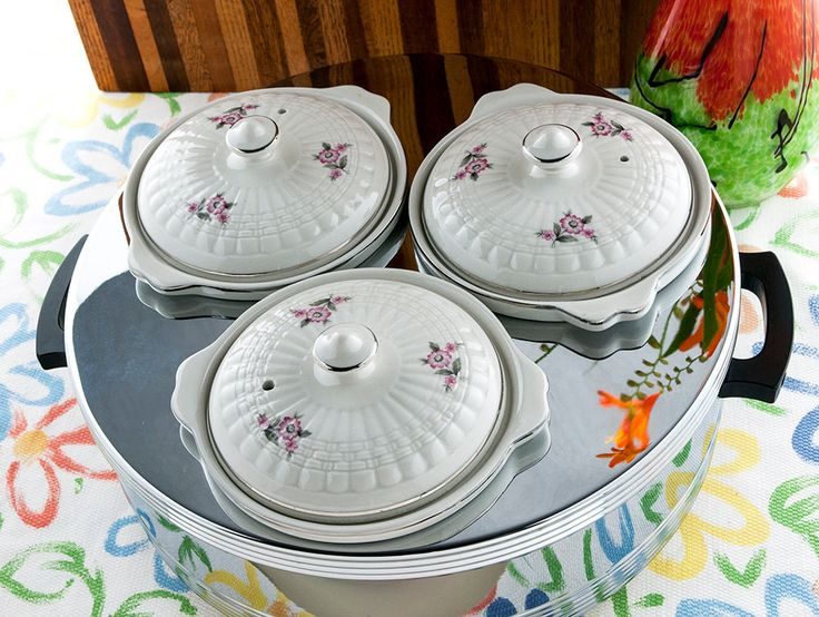 Vintage Food Warmer Forman Family Hall China Mid Century Modern Portable Chrome Steam Table Ceramic Crocks with Lids New/Old Stock
