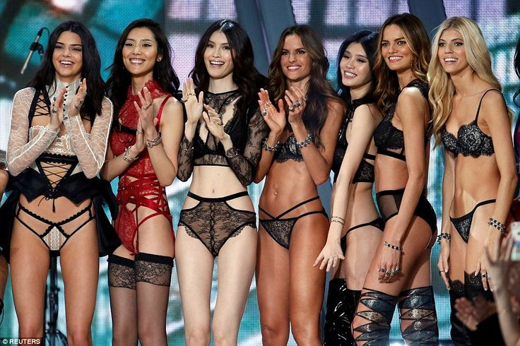 Round of applause: The models all cheered each other on as the show went down a storm...