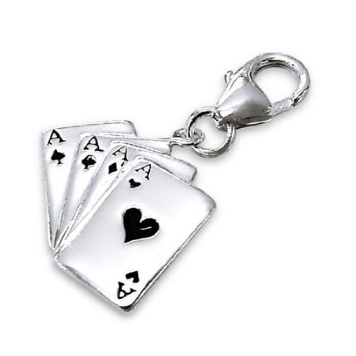 TheCharmWorks Sterling Silver Four Aces Playing Cards Clip on Charm