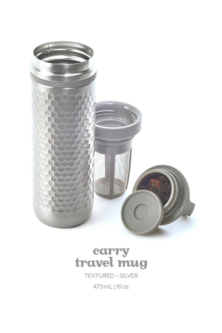 Carry Travel Mug - Textured Silver. Not only is this pretty light pink travel mug 100% leakproof, it also keeps your tea hot for hours on end.