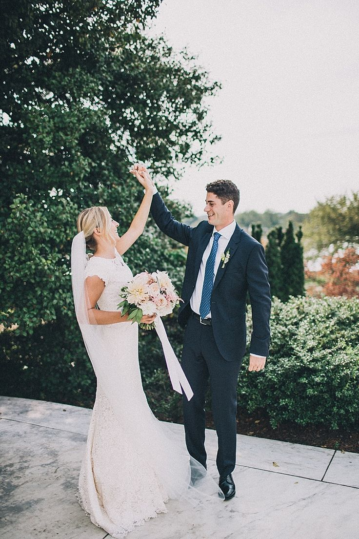 modest wedding dress with cap sleeves and a trumpet skirt from alta moda (modest bridal gown)