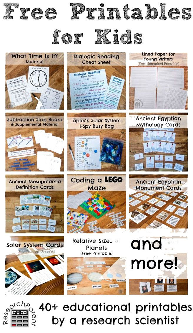 Free Printables for Kids -- Includes educational tools for science, history, math, reading, and more