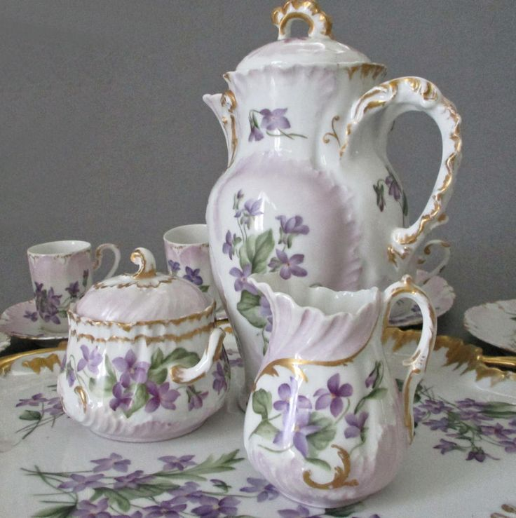 "Antique LIMOGES HP Porcelain Chocolate Pot Set VIOLETS 16"" Tray S+C Cups Saucers"