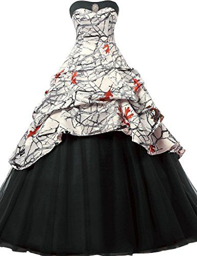 JAEDEN Gothic Wedding Dresses Ball Gown Quinceanera Dress Prom Gown Camouflage Black UK20