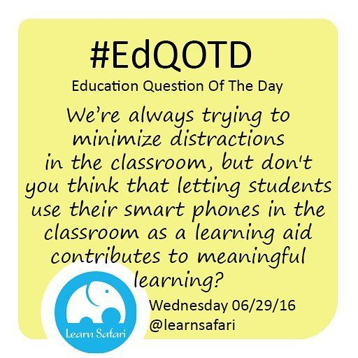 Should we let our students use their smart phones in the classroom as any other resource avilable to them? Or should we keep a strict no-phone policy?  What would work better for you?  #EdQOTD #smartapp #edtech #elearning #classresource #learnspanish #teens #teachersofinstagram