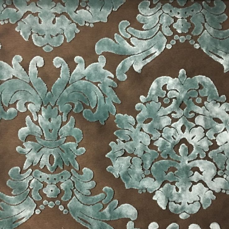 Florence Palace - Damask Pattern Burnout Velvet Upholstery Fabric by t - Top Fabric