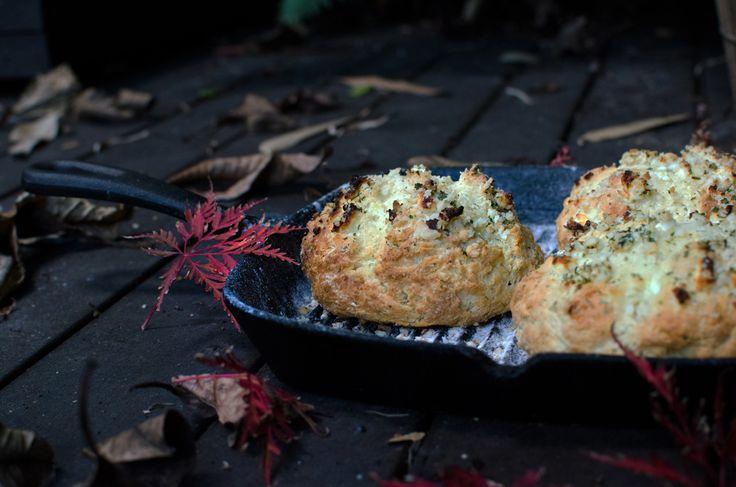 Macadamia, feta & saltbush damper