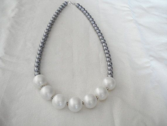 Gray pearl necklace Pearl jewelry Bridesmaid gift by Poppyg