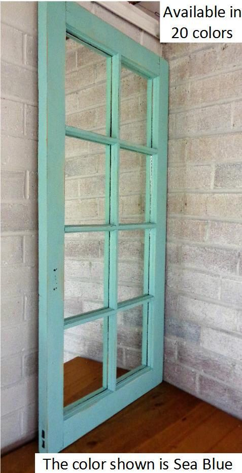 8 Pane Window Mirror  by Lane of Lenore - Teal - Wall Mirror - salvaged window -reclaimed window - distressed window - painted mirror by LaneofLenore on Etsy https://www.etsy.com/listing/493747264/8-pane-window-mirror-by-lane-of-lenore