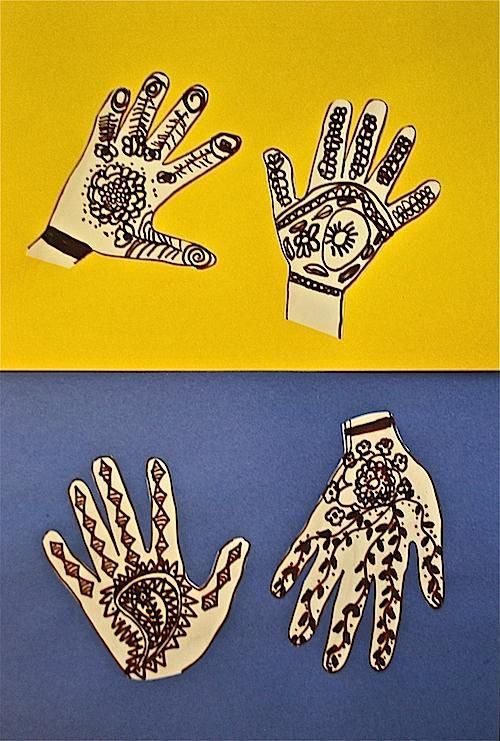 "Multicultural Art Project: ""Henna Hands"" teaches kids about the use of henna, a traditional art form that has been practiced in India, areas of the Middle east, and parts of Africa for hundreds of years."
