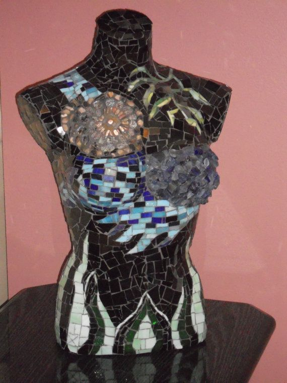 """Blue and Green """"Sea Urchin"""" Hand Crafted Mosaic Mannequin. $900.00"""