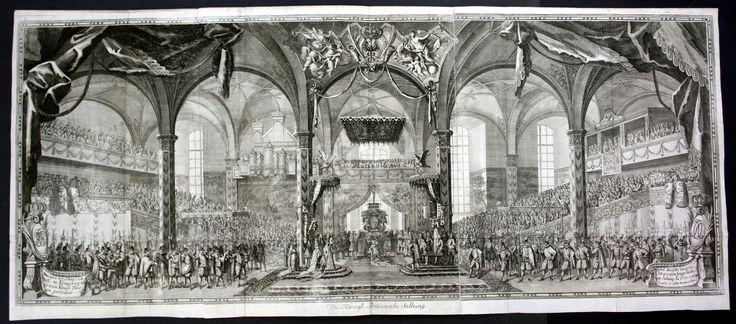 1705 Königsberg Preussen König Salbung Kupferstich Merian