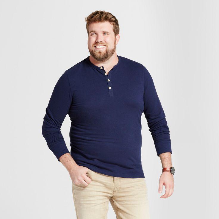 Men's Big & Tall Standard Fit Long Sleeve Micro-Waffle Henley Shirt - Goodfellow & Co Navy (Blue) 2XB