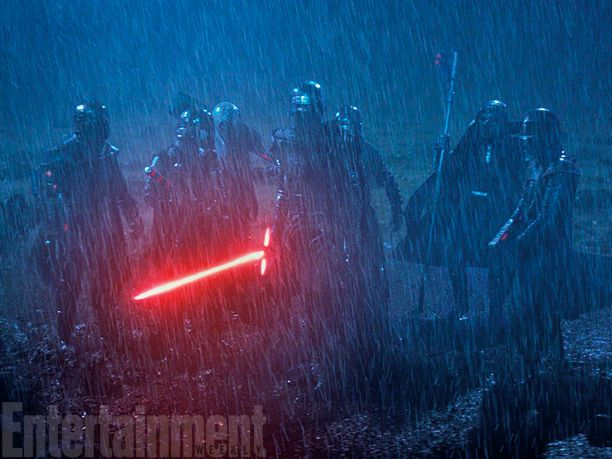 Producer Bryan Burk says the last major day of shooting on The Force Awakens was this dreary, rainy scene featuring Adam Driver's Kylo Ren and some masked figures in armor believed to be the Knights of Ren. All we know is that they give Kylo his new name after joining their order.