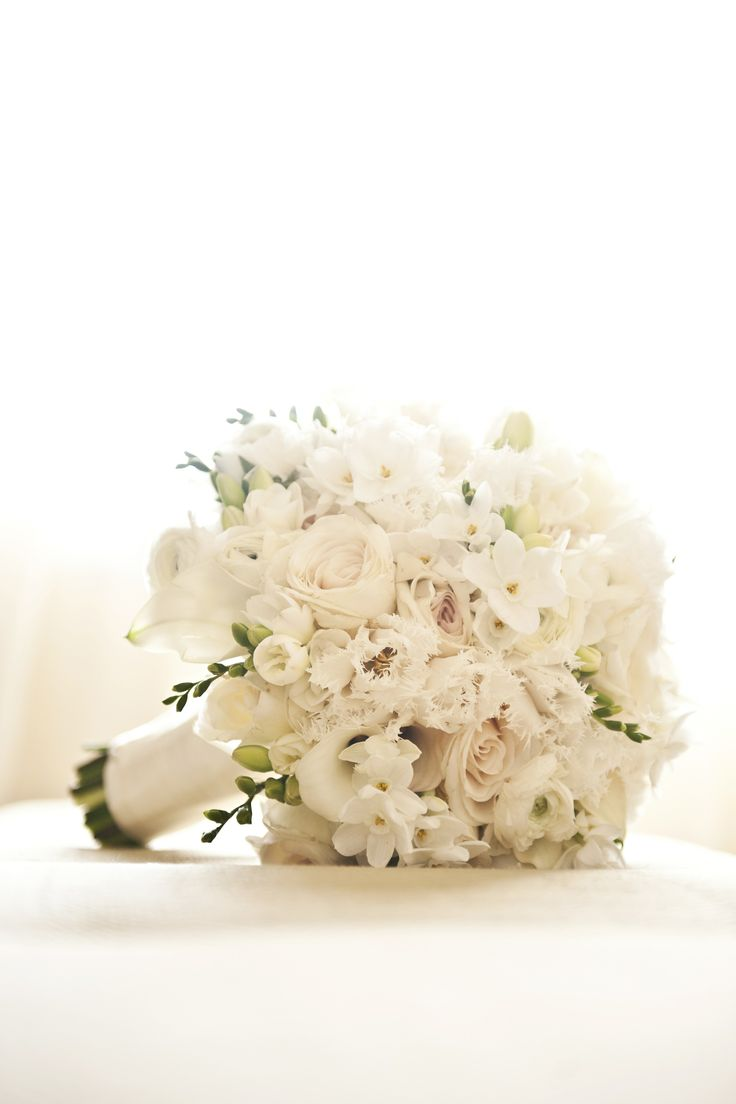 Beautiful White Bridal Bouquet Of Mixed Flowers Brandy J Photography Theknot