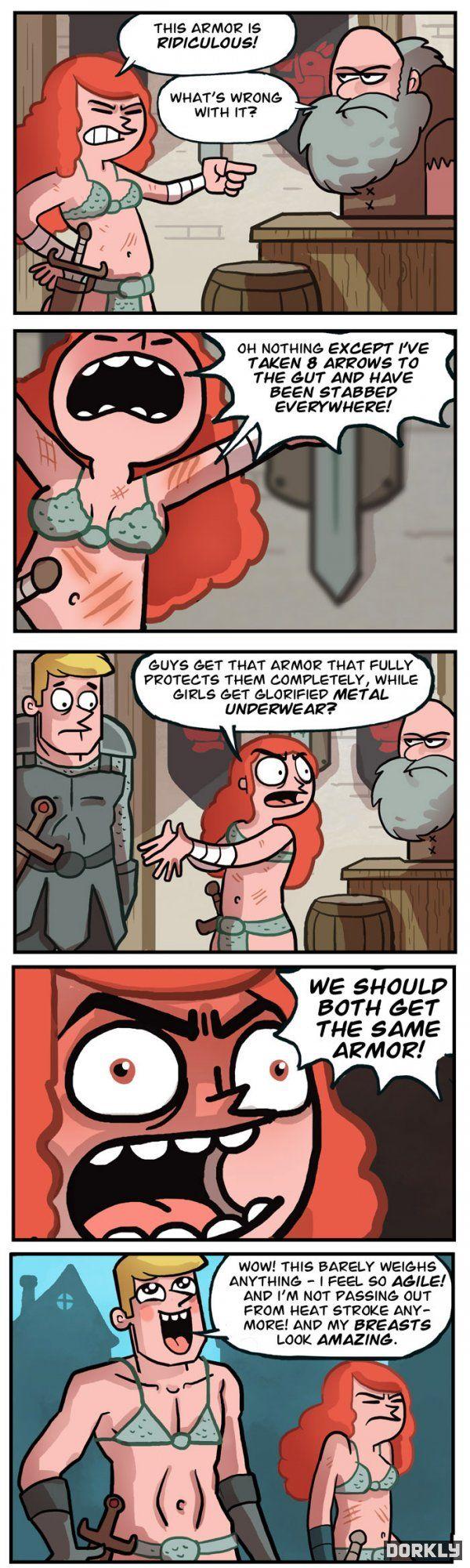 Feminist's argument for better armor doesn't go as planned...