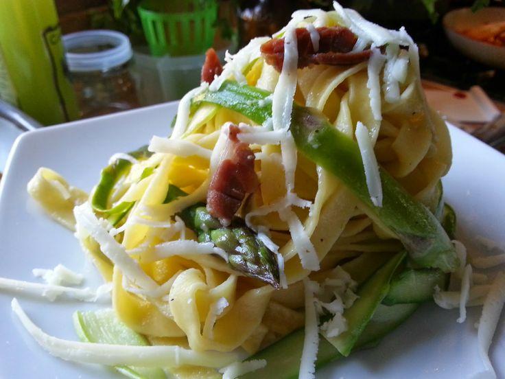 Fatemi cucinare !!!: Tagliatelle di pasta e asparagi con prosciutto cru...