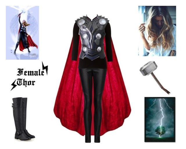 """Female Thor"" by glader-girl12 ❤ liked on Polyvore featuring MANGO, Lipsy, Timeless and Amanti Art"