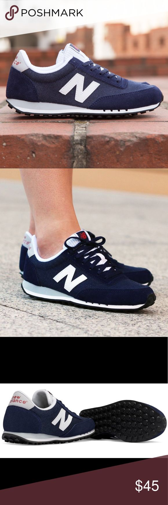 NEW BALANCE 410 New Balance Sneakers 410 Classics - Women's suede and fabric denim. Navy blue and white --- Lightweight. New Balance Shoes Sneakers