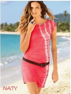 NATY Dámské letní šaty s páskem batikované červené