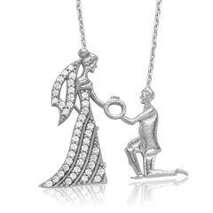 İlanı Aşk Gelin Damat Bayan Gümüş Kolyesi