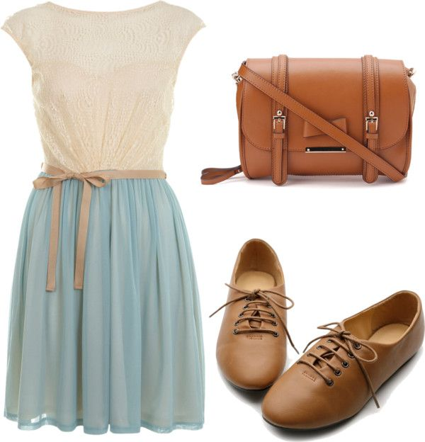 Eleanor Calder inspired outfit for the first day of school with a dress by eleanorcalder-style featuring leather handbagsMiss Selfridge lace dress / Oxford shoes / Leather handbag